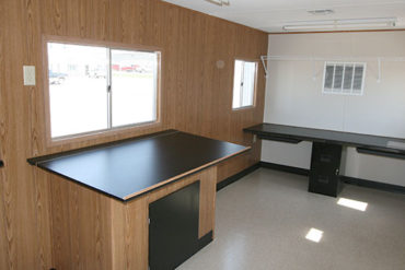 interior of a contractor mobile office trailer