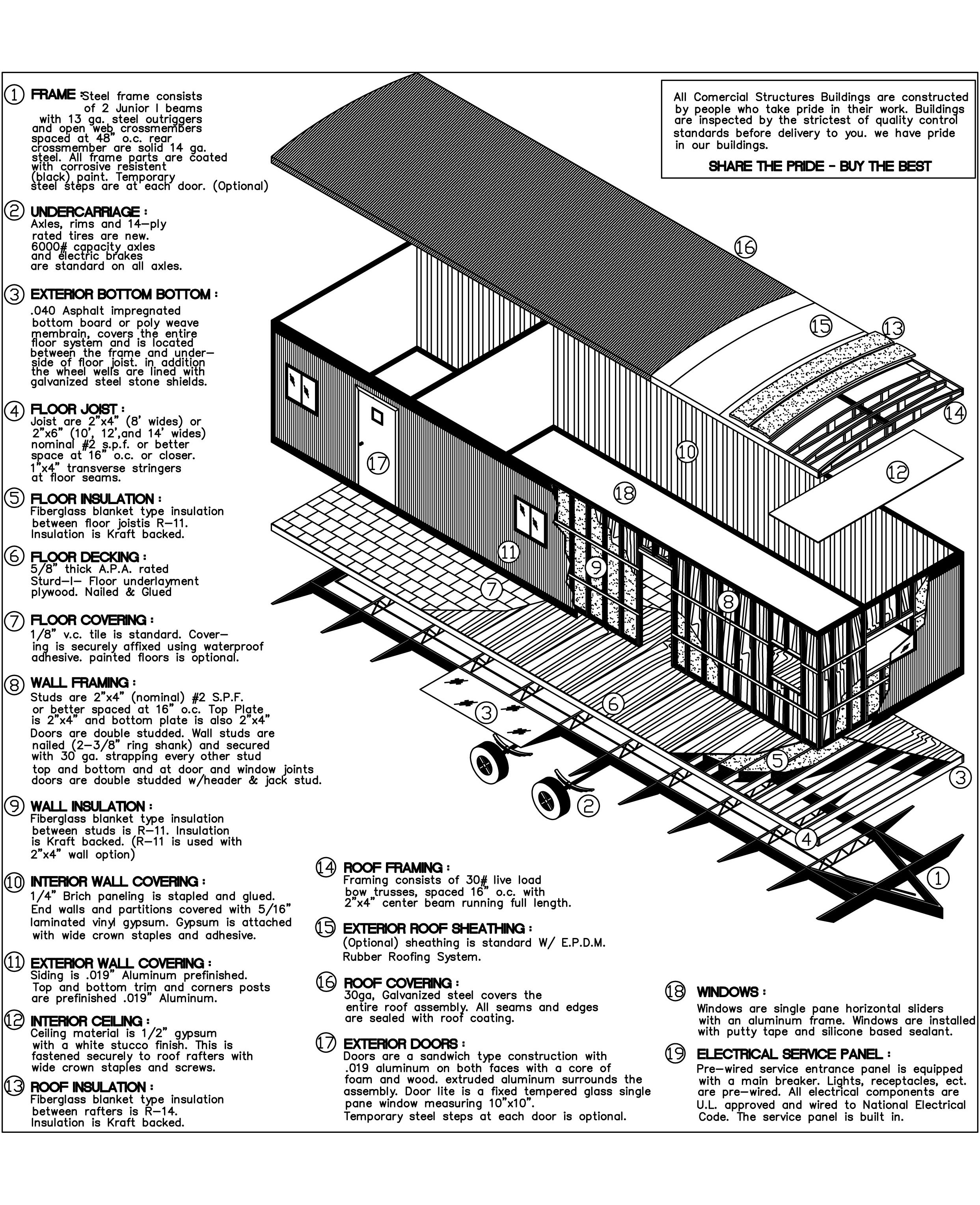 Modular office spec drawings with labeled diagram